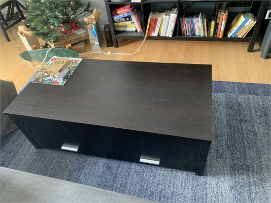 MOVING SALE - Black wood coffee table w/ storage + 5x8 blue area rug