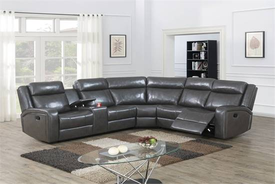 NEW RECLINING Leather SECTIONAL with 2 RECLINERS BUILT IN - NEW IN BOX