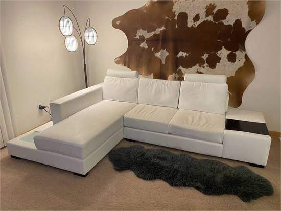 Mid-century modern full grain leather couch white