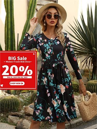 Women V-neck Midi Dress with Blet Big Sale UP TO 20% OFF