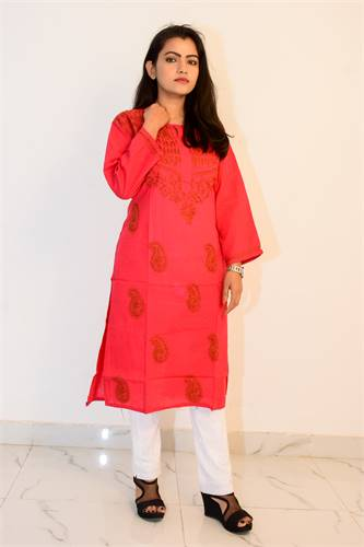 Buy Hand Embroidered Lucknowi Chikan Red Cotton Kurti