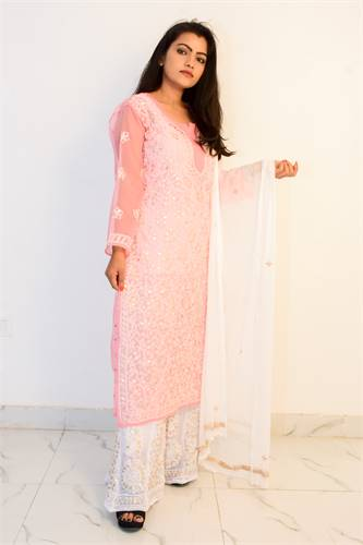 Buy Hand Embroidered Lucknowi Chikan Light Pink Georgette Kurti