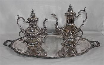 REED & BARTON SILVERPLATE TEA / COFFEE SET F B ROGERS TRAY EXCELLENT